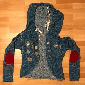 Intricate Embroidered Print Buttoned hood sweater